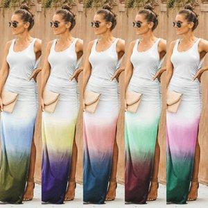 Beiläufiges Kleid Sleeveless Scoop Neck Gradient Color Split gedrucktes Kleid Street Style Damenmode Sommer-Frauen-Designer
