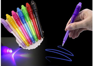 Big Head Luminous Light Pen Magic Purple 2 In 1 UV Black Light Combo Dibujo Invisible Ink Pen Learning Learning Juguetes para niños