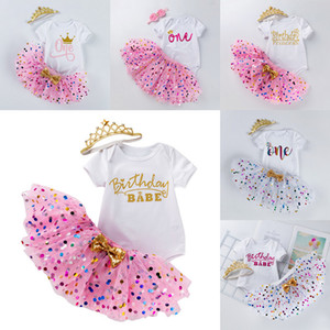 INS Baby Tutu Dot Skirt With Bow & Romper & Crown Headband 3pcs set Girls Birthday Photography Dress Kids Halloween Princess Party Clothe