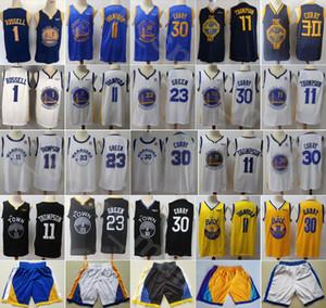 İl Basketbol Draymond Green Jersey Stephen Curry Thompson D Angelo DAngelo Russell Pant Kısa Takım Lacivert Beyaz Siyah Kazanılan Sürümü