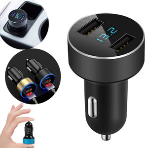 Dual USB 5V 3.1A Car Charger Cigarette LED Light Adapter for iPhone Samsung Huawei Pad Camera Quick Charging Universal Free Shipping