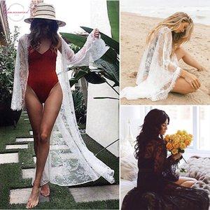 Womens de banho Sexy Lace ver através de manga comprida Lace Bikini Cover Up Swimwear Verão Beach Dress