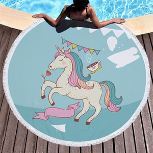Unicorn Couverture ronde d'été 150cm Plage Tapisserie ananas Serviette Blanket Indian Bikini costumes de bain Cover Up