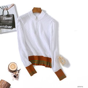 womens designer Curved bead autumn temperament elegant contrast rib crochet hollow sweater women0NMK YNG1