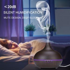 Новый Ультразвуковой увлажнитель воздуха с ароматом эфирного масла и ультразвуком с древесным зерном 7 изменяющих цвет светодиодных фонарей для офиса в спальне дома 400 мл
