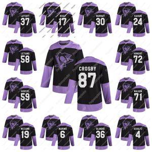 Jeunesse 2020 Combats pratique du cancer noir Jersey Penguins de Pittsburgh Sidney Crosby Kris Letang Malkin Hornqvist Murray Dumoulin Lafferty