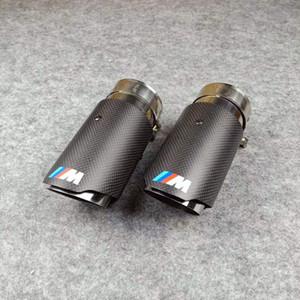 Großhandels1pcs Auto M LOGO Auspuffblenden Glossy Carbon + Edelstahl-Tipps für VW AUDI BENZ BMW PORSCHE Schalldämpfer Endrohren