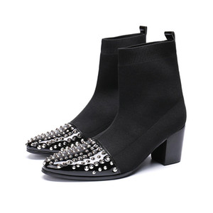 Hiver Hommes Pointe Bout Toile Augmenter La Cheville Mâle Paty Chaussures De Bal De La Mode Talons Hauts Chaussettes Bottes Rivets Bottes Habillées Bottes Chaussures