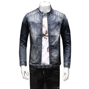 고품질 데님 재킷 남자 청바지 재킷 새로운 2019 가을 / 겨울 의류 씻어 Mens 데님 코트