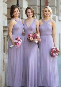 Floor Length Lavender Tulle Pleated Halter Neck Or V Neck Elegant Ruched Bridesmaid Dresses Prom Dresses