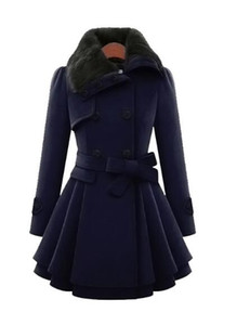 Free shipping new European and American women's slim long wool coat double-breasted thick coat + belt