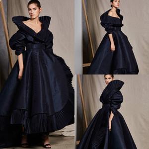 2020 Nova Ashi Estúdio Vestidos Preto V Neck alta Collar Ruffles A linha de meio Prom Party Dress mangas compridas High Low Red Carpet Dress