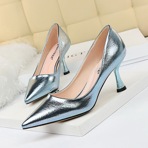 2019 New Women Pumps High Thin Heel Metal Pointed Toe Shallow Sexy Ladies Bridal Wedding Women Shoes Gold High Heel Female Pumps
