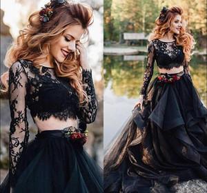 Vestido de partido nupcial de los vestidos de boda negro de manga larga gótica Dos Piezas Vestidos de novia gradas de la tapa del cordón de Bohemia