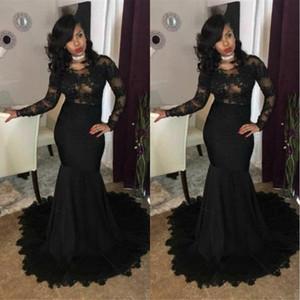 Sexy Plus Size Black Mermaid Prom Dresses Long Sleeves Lace Applique African Evening Gowns Zipper Back Vestidos De Festa SD3341