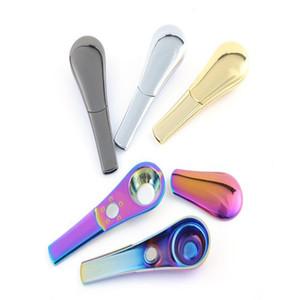 Löffelform Rauchpfeifen Metallpfeife tragbare Pfeife Wind Proof Lighter Convenient Raucherzubehör mit KASTEN 4 Farben WY80Q