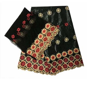 african fabric african tissu bazin riche getzner with  brode getzner with 2yards french net lace for party