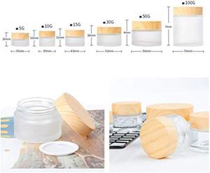 Frasco de cristal escarchado Botellas de crema Ronda Tarras de cosmética Ronda Facilitación de mano Botellas de embalaje 5G, 10G, 15G, 30 g, 50 g Crema Tarros de vidrio con tapa de grano de madera
