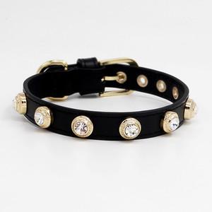 Lussi gatto del cane di collare di cuoio di Bling Repubblica strass collana personalizzato Genuiner Collare di cristallo Handmade puro