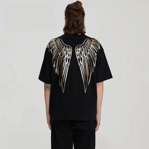 tendencia de la moda de lujo camisetas para los hombres y las mujeres de oro de estampado alas de águila proceso de camisetas impresas no se desvanecen m-2XL