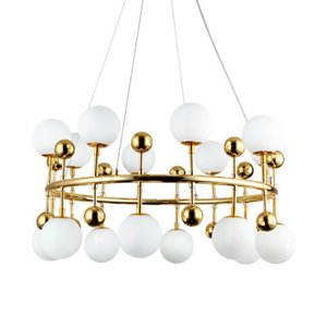 Post-moderne plaqué or Fer luxe boule en verre Modo Pendant Light pour manger Salon lampe Chambre Dia 96 / 116cm