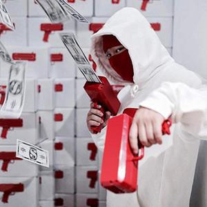 2018 Super homens Caixa canhão dinheiro Gun Brand new arma dinheiro dólar conta dinheiro Lançador legal do partido do carro vermelho Interior Detalhes no frete grátis