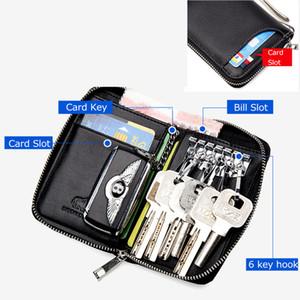 Véritable Porte-clés En Cuir Mâle De Voiture Porte-clés Couverture Zipper Titulaire de la Carte Portefeuille Clé Organisateur Grande Capacité