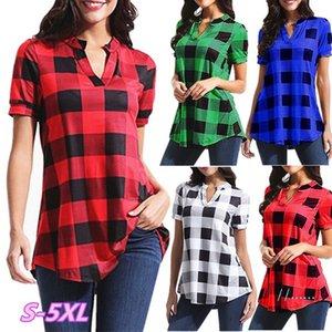 Kadın Ekose Bluz Gömlek Tees Artı Boyutu Tops Casual V Yaka Tişört Yaz Kısa Kollu T Shirt Bayanlar Gevşek Izgara Top Tees Moda