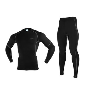 Men Winter Thermal Underwear Warm Up Fleece Compression Cycling Base Layers Shirts Running Sets Jersey Sports Suits