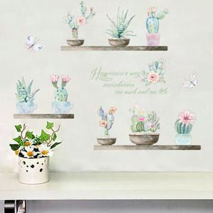 Planta de jardín Bonsai Flor Mariposa Pegatinas de Pared Decoración Para El Hogar Sala de estar Cactus Aloe Tatuajes de Pared Diy Arte Mural Pvc Posters
