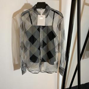 Designer Frauen Runway 2ST Bluse Set 2020 Frühlings-Sommer-Mode-Stil dreht unten Kragen Plaid Druck T-Shirts mit Underneath