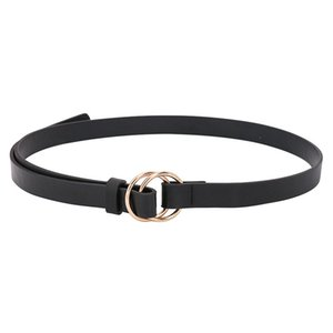 Double Ring Round Circle Belt Women Gold Buckle PU Leather Belt Ladies Thin Wild Knotted Decorative Belts