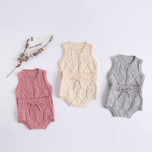 ANG INS Newest Kids Boys Girls Sweaters Clothng Sets Sleeveless Oblique Buttons Stripes Cardigans Straps Shorts 2pieces Suits