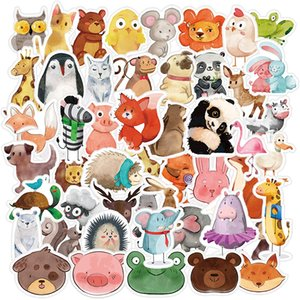 Wholesale 50Pcs Pack Cute Watercolor Ink Animal Cat Dog Birds Cartoon Kids Car Skateboard Motorcycle Bicycle Luggage Laptop Wall Decals Bulk