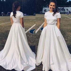 2020 sexy due pezzi raso A Line Wedding Dresses Jewel manica corta cappella treno disegno semplice di Country Garden Abiti da sposa per la sposa