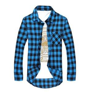 Uomini Cotton Plaid Shirt Camicie sociale Uomini Autunno 'S plaid di modo lungo manica corta Camicia Uomo Casual Giù Camicia Qualità