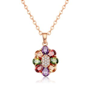 Boutique necklace colorful environmental protection copper gold-plated collar superior product zircon necklace boutique hot sale