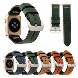 Bandes de bracelet de montre en cuir authentique rétro pour bande de montre Apple 38mm 42mm de rechange de rechange bracelet bracelet bracelet pour femmes hommes