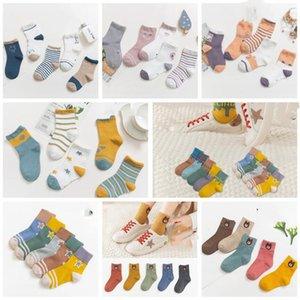 Niño de algodón calcetines de algodón elástico otoño Niño Niña calcetines del color del caramelo raya imprimió la historieta niños del calcetín WY237Q