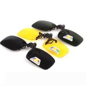 Nueva polarizada Día visión nocturna con clip del flip-up lente de conducción Gafas de sol polarizadas Gafas de visión nocturna de 4 colores
