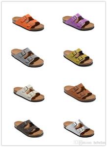 Calidad Alta Marca Arizona Birk Zapatillas de cuero genuino Para Hombres Mujeres Venta al por mayor pisos Corcho sandalias playa de verano informal con hebilla zapatillas
