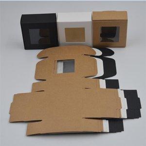 30pcs 4 tamanhos Kraft caixas de papel Brown caixa de presente pequena com janela White Box Partido Handmade Soap / Preto Embalagem Present
