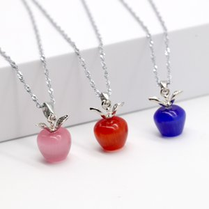 9 Цветов Яблоко Кулон Кошачий Глаз Камень Ожерелье Из Бисера Натуральный Камень Ювелирные Изделия Ожерелья Лучший Подарок для Женщин
