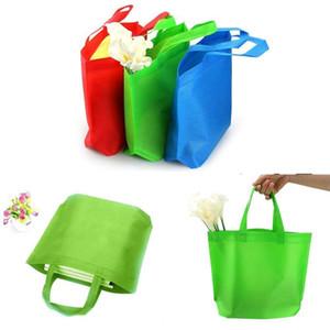 """13 """"أكياس التسوق القابلة لإعادة الاستخدام فارغة الألوان غير المنسوجة النسيج قوس قزح مقبض المسلحة بقالة حقيبة حزب كبير الحالية هدية حقائب حمل هدية"""