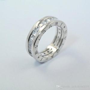 Gioielli Luxury Real 925 Sterling Silver principessa Cut Topazio bianco CZ Eternity Diamond Letter Anello Donne Wedding Band Ring per il regalo dell'amante