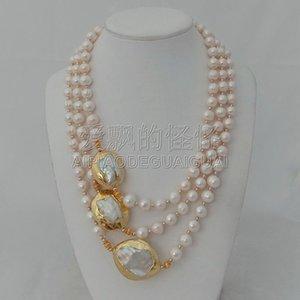 N010625 3 пряди 18 '' - 21 '' белая жемчужина 24 K позолоченные жемчужное ожерелье Keshi Y19050802