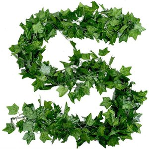 Home Decor Artificial Leaf Garland Plants Vine Fake Hanging Flowers Creeper Green Wreath Bathroom Decoration Garden