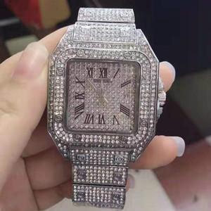 Горный хрусталь часы женщины роскошные Кристалл дамы наручные часы квадратный браслет женские часы золото бриллиант мужские часы для женщин 2019