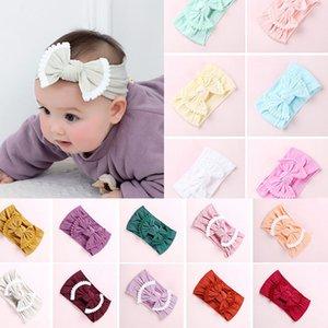 Kafa Çocuklar Naylon Katı Saç Bandı Bowknot Bebek Bantlar Çocuk headdress M239 yay Bebek Saç Aksesuarları 27 Renk Çocuklar tüy yumağı