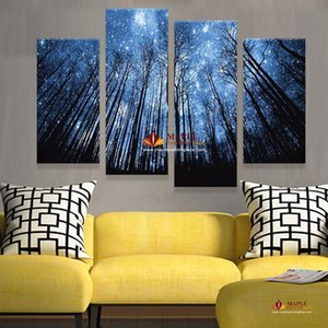 A Unframe 4 Panels Modern Abstract Canvas Prints Artwork Beautiful Starry Sky Canvas Painting Wall Art Home Decor For Living Room Pictu